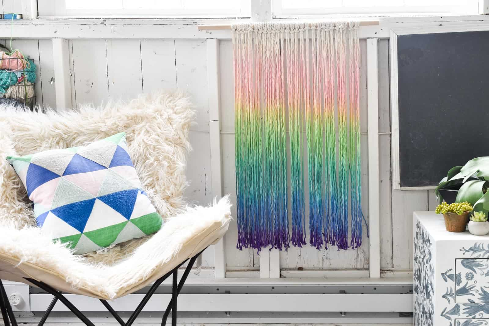 dip dyed rainbow rope wall hanging