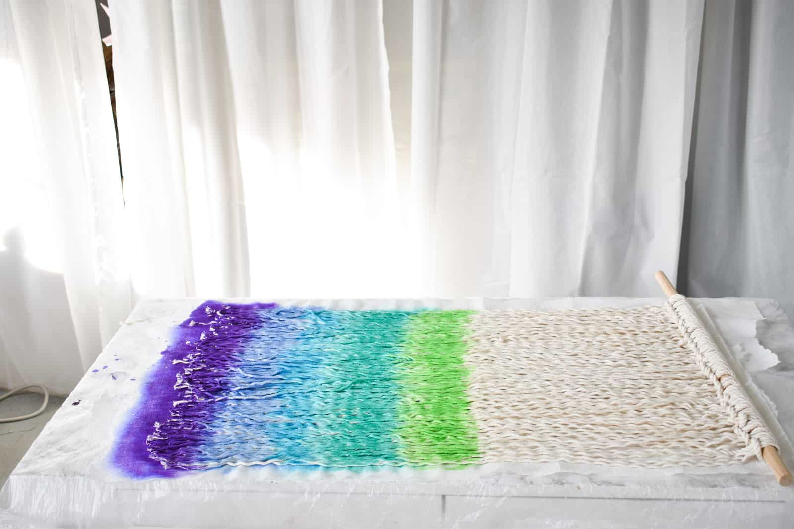 continue with dye in rainbow pattern