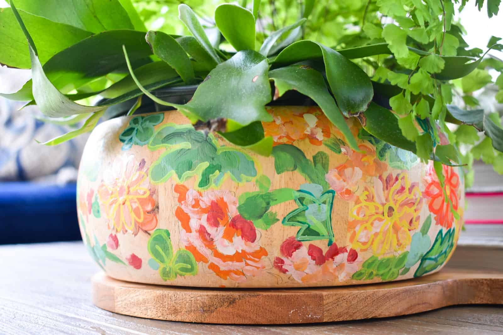 detail of planter with paint pen outlines