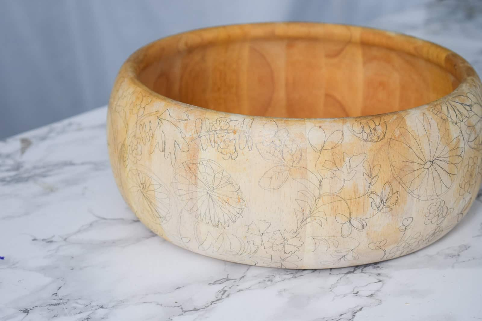 pencil outline on thrift store bowl
