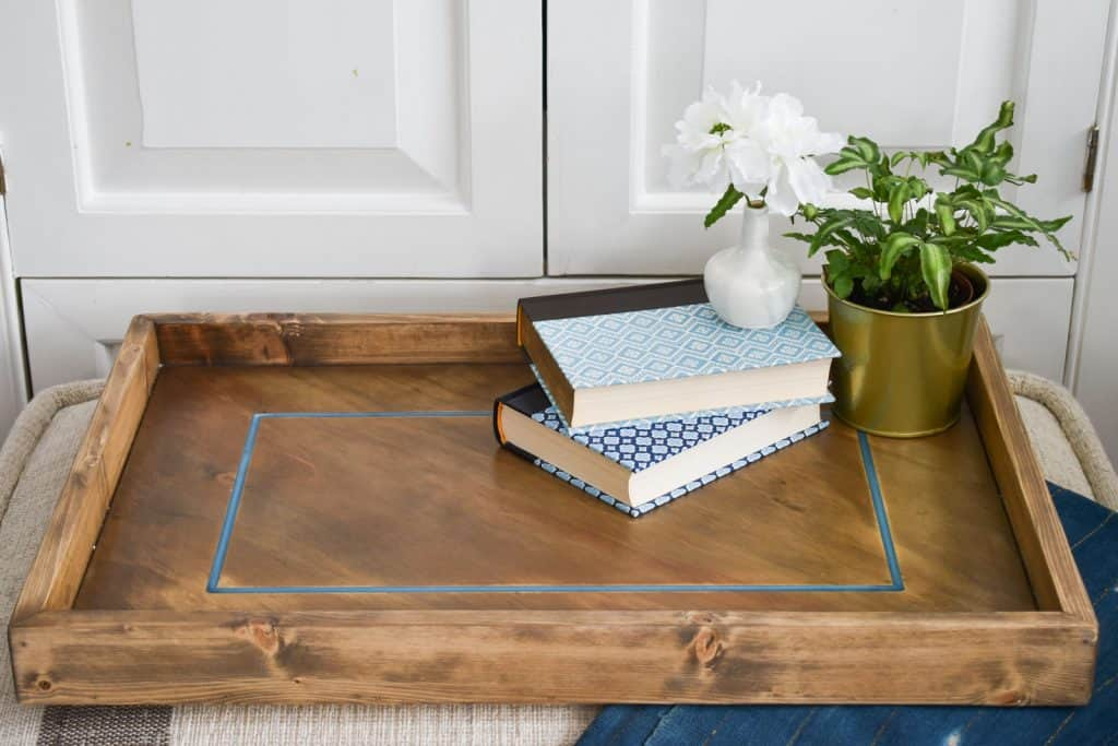 wooden tray with blue epoxy inlay