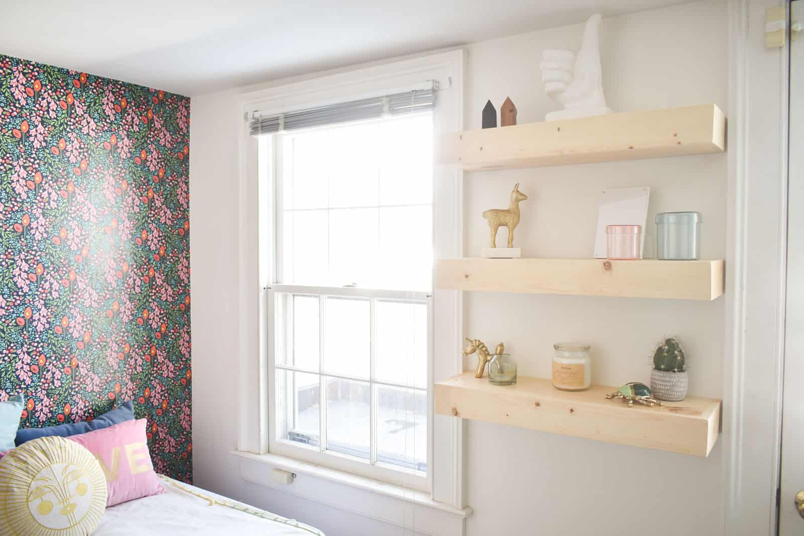 floating shelves in guest room gauntlet