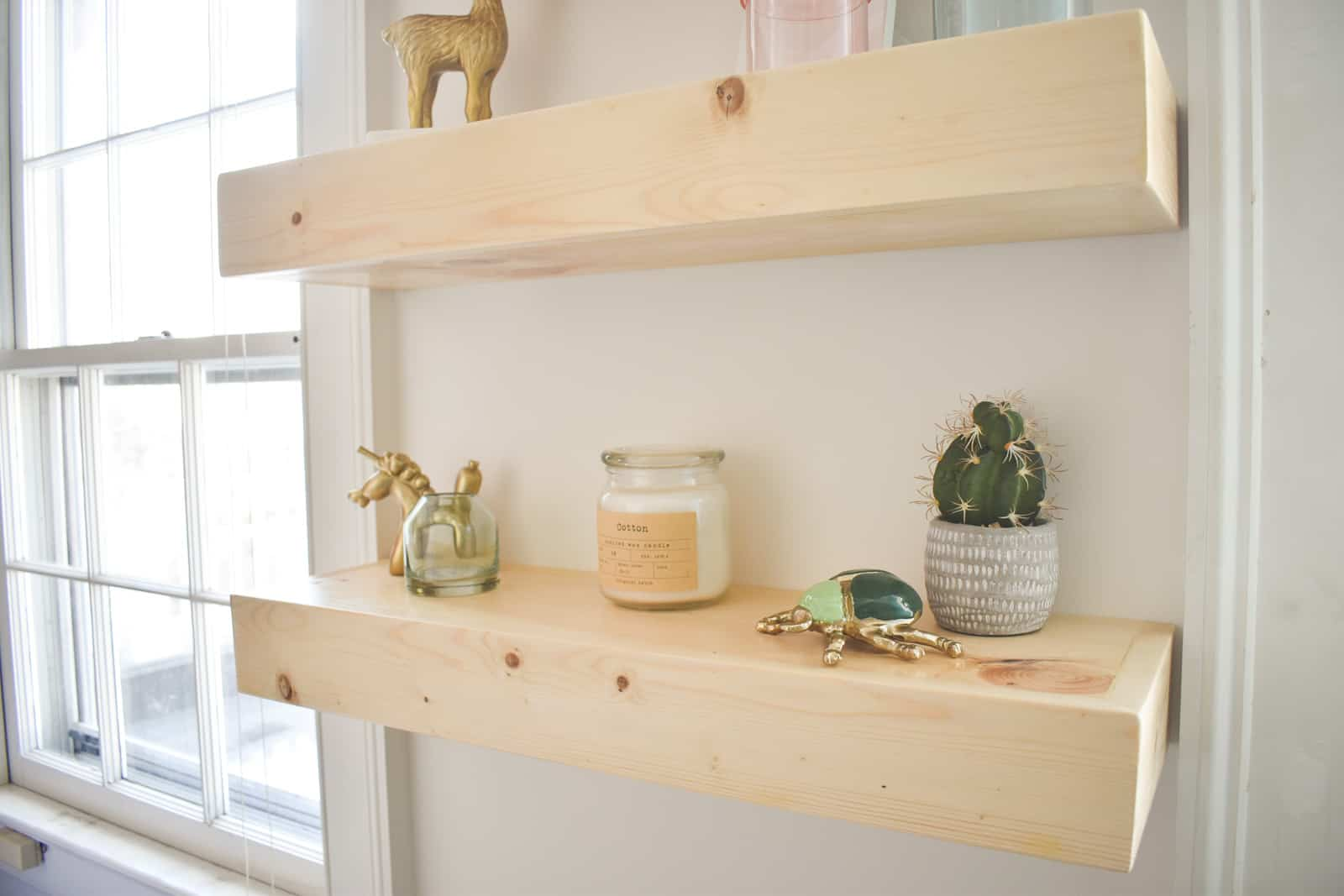 floating shelves finished with polycrylic