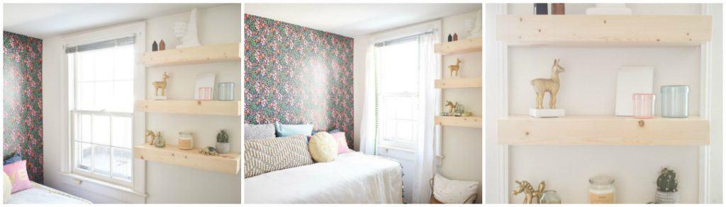 floating shelves and wallpaper in guest room gauntlet