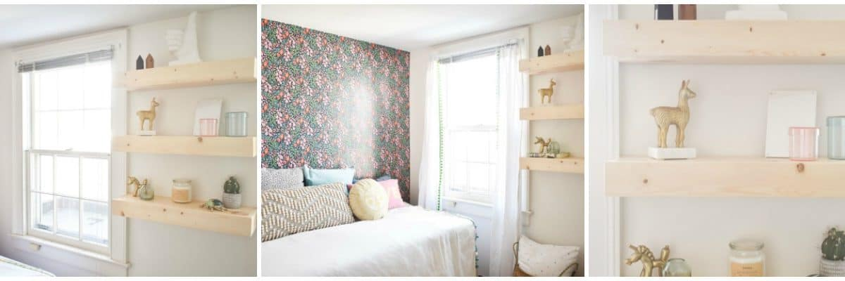 Dueling DIY: Wallpaper and Shelving