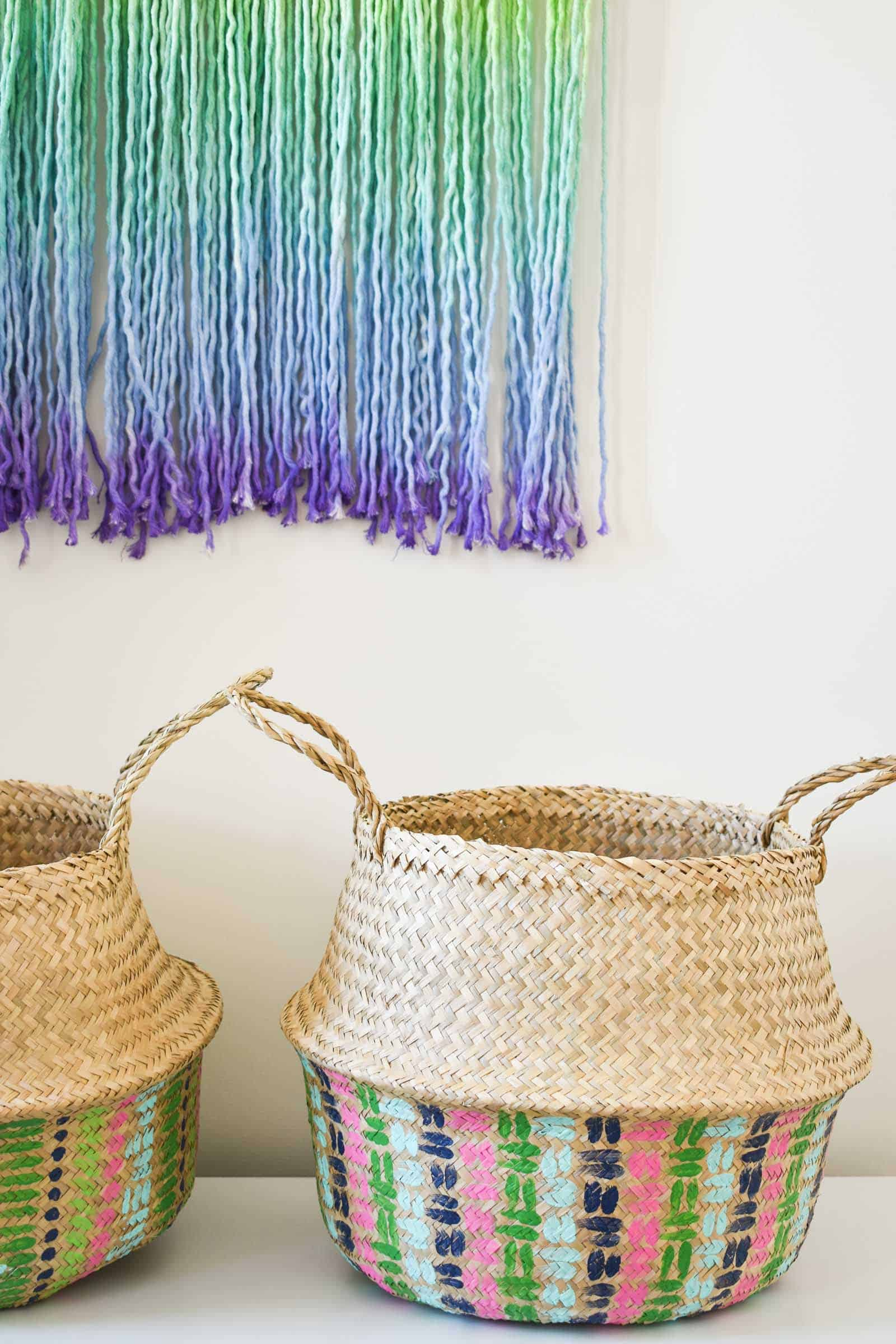 styled baskets in the guest room