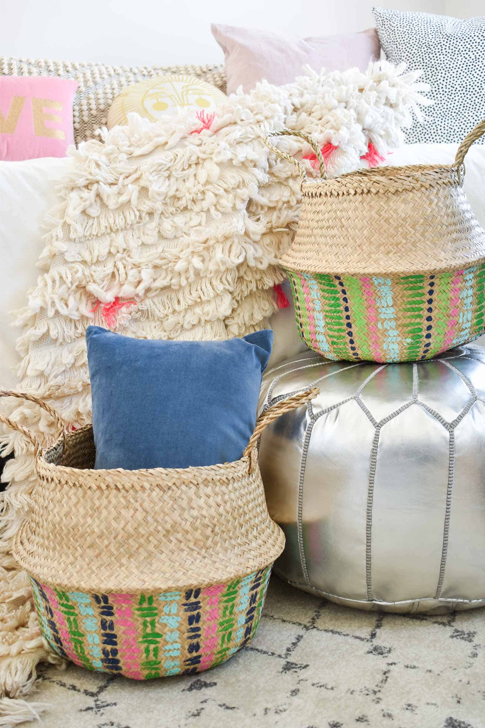 baskets in the dueling diy guest room