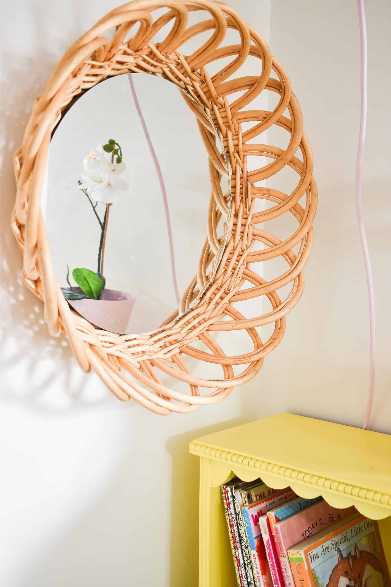 make your own boho rattan mirror