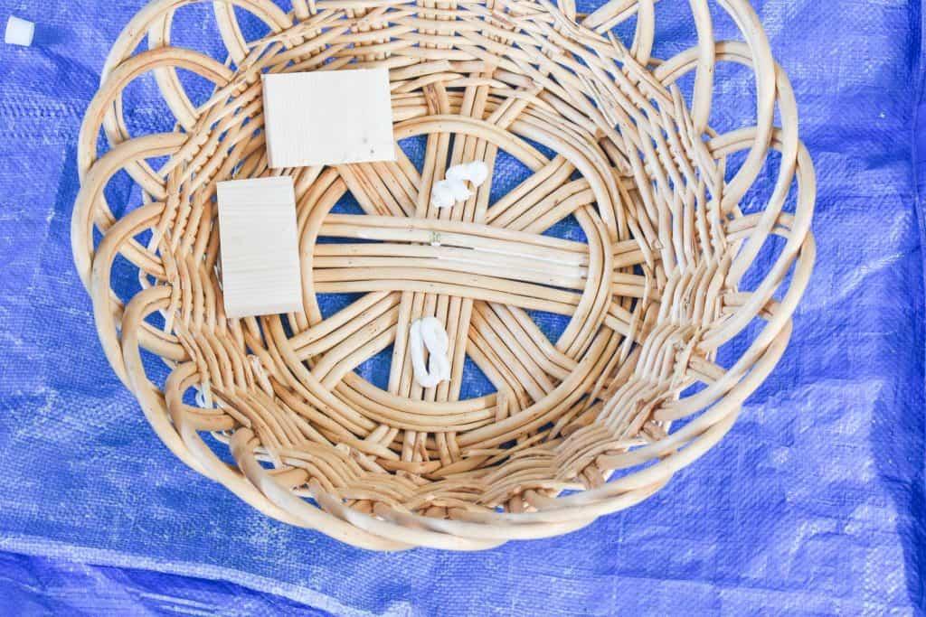 adhering mirror to basket