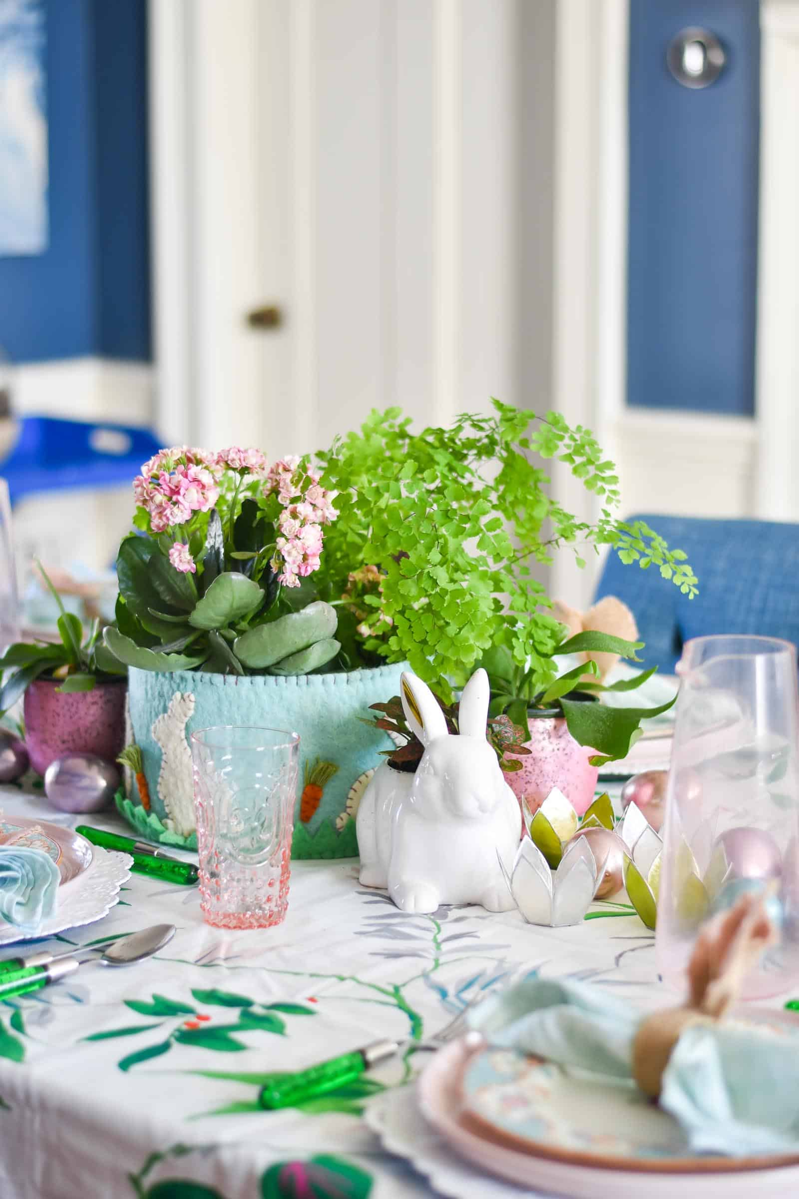 spring tablescape with easter touches