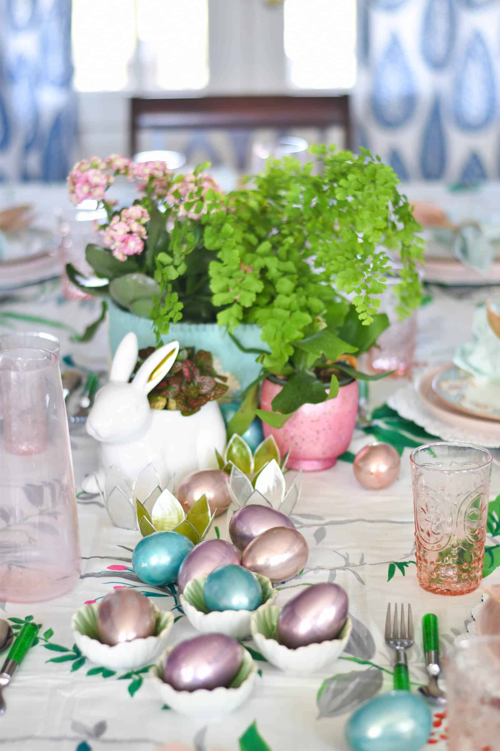 metallic easter eggs for spring centerpiece