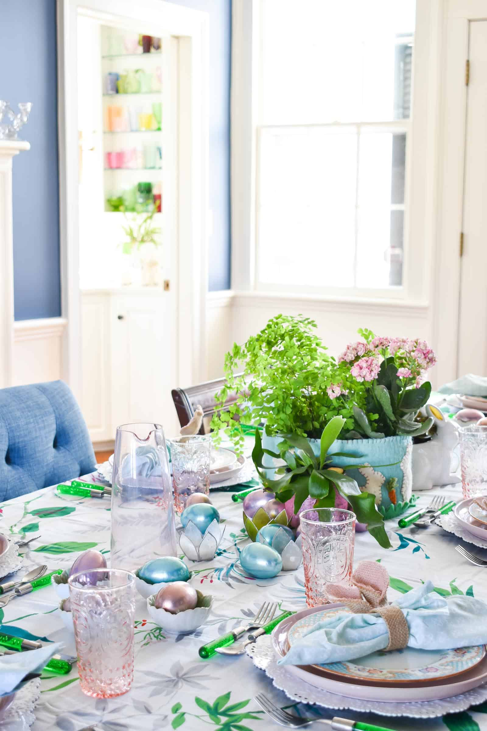 glassware on spring tablescape