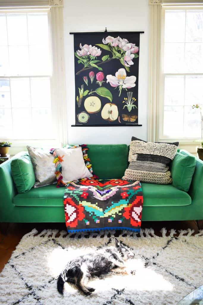 green couch in spring living room
