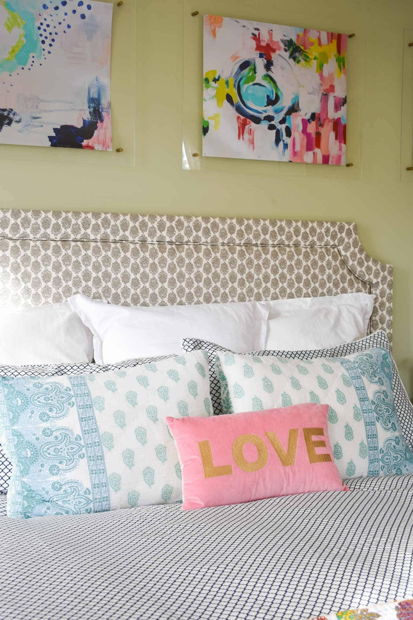 enjoying new spring bedding for master bedroom