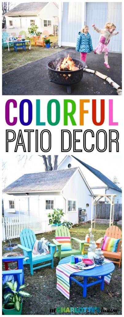 Colorful All-Weather patio decor from POLYWOOD has me SO excited for spring. We set it up and threw and epic s'mores party around our rainbow adirondack chairs.