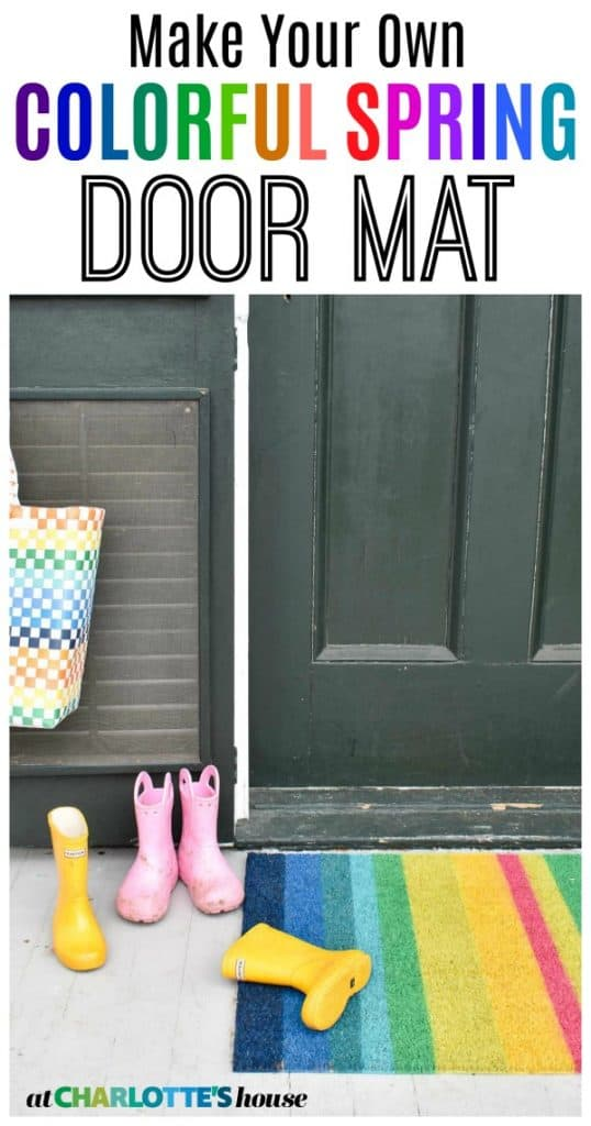 Easy spring rainbow doormat... this took my 15 minutes to make and cost less than $10 to make. A great way to use up leftover spray paint!