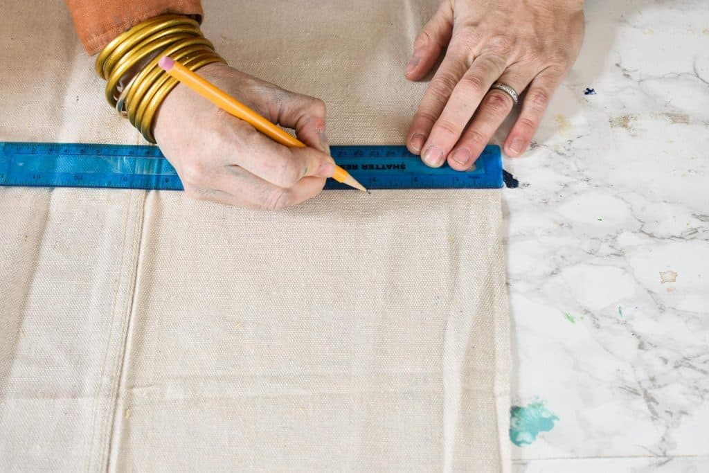 measure and cut strips out of drop cloth