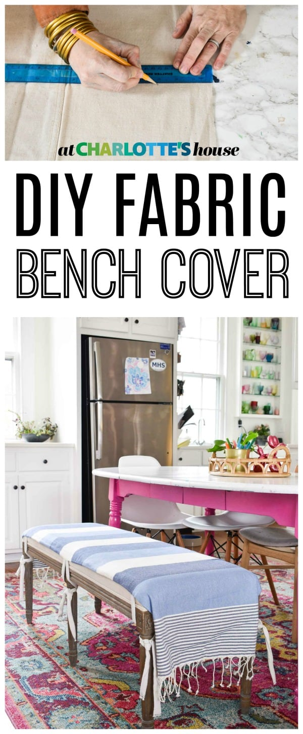 I wanted to protect our upholstered bench at the kitchen table so I made this simple DIY fabric cover.