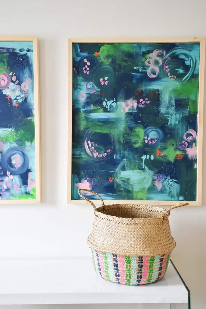 DIY abstract art for guest room gauntlet