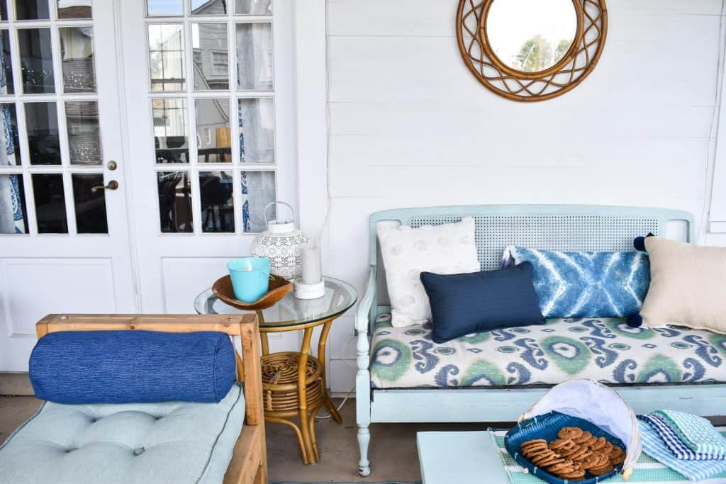 blue coastal living porch decor