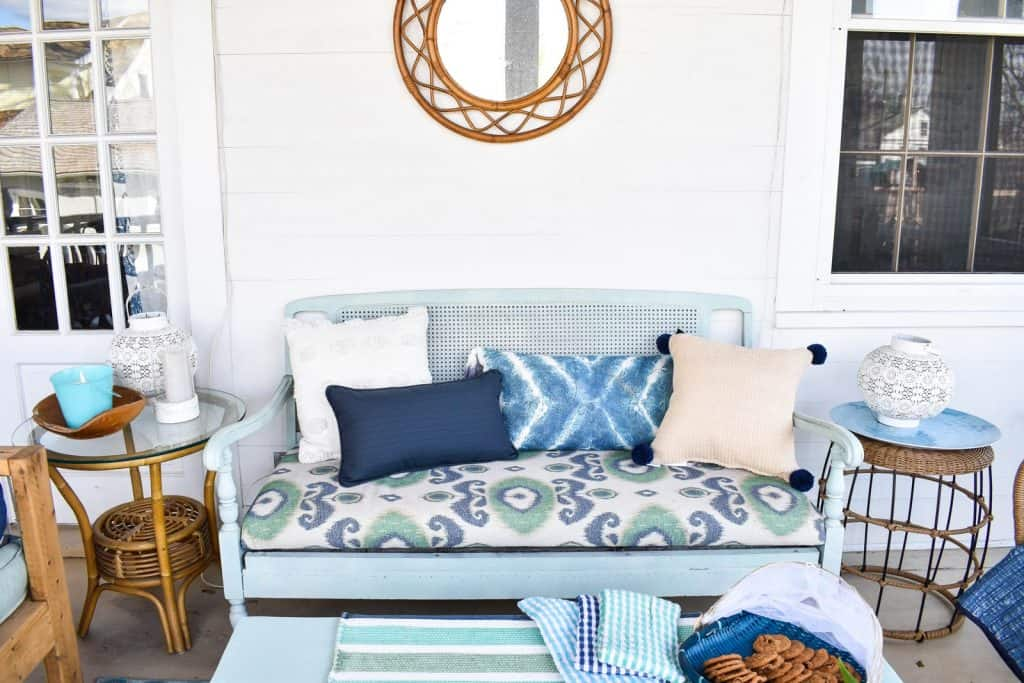 back porch with layered blue coastal tones