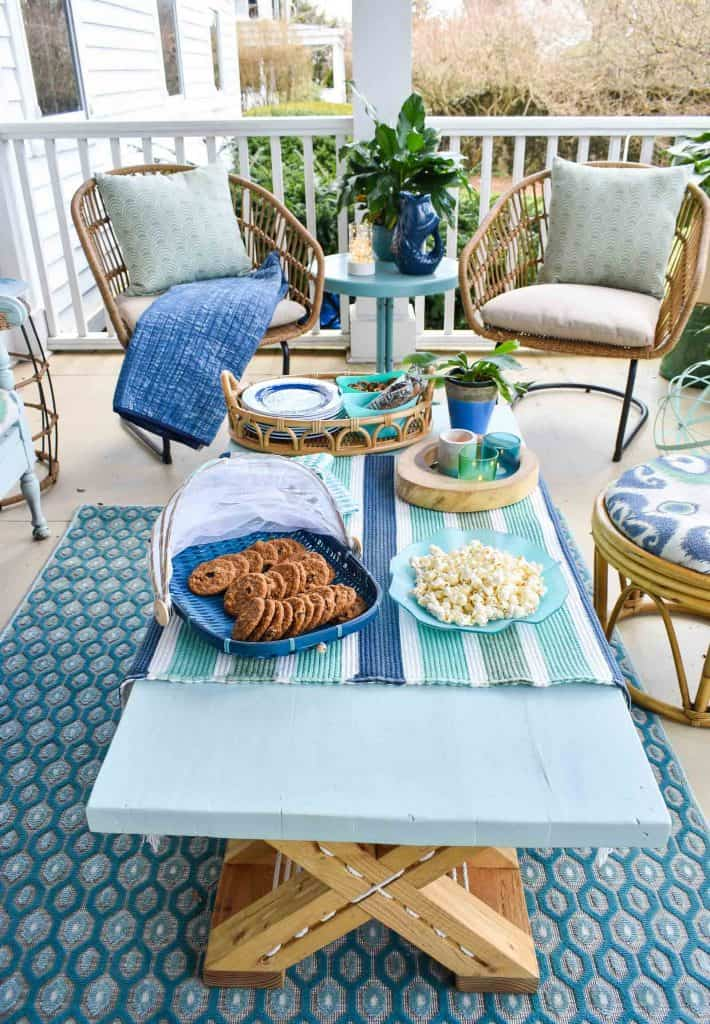 chindi rug and coastal decor on porch