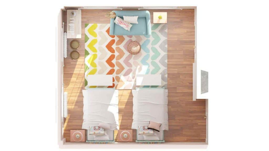 overhead of girls room plans
