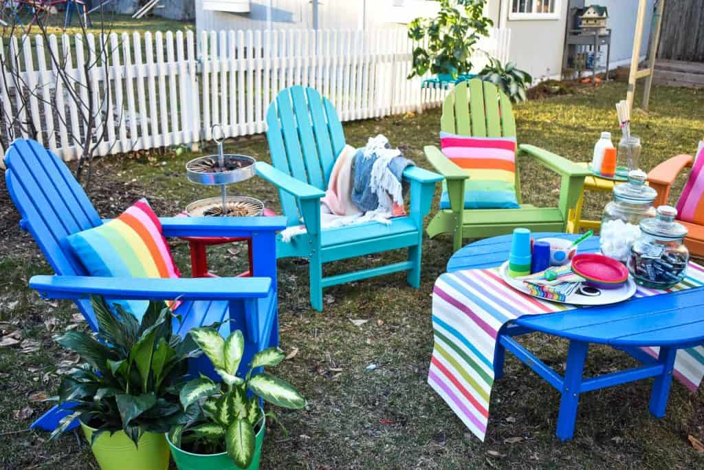 rainbow patio seating for s'mores with POLYWOOD
