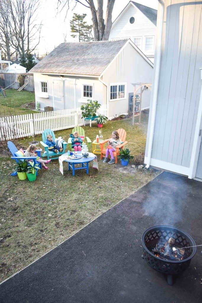 Fun s'mores party with our colorful all weather patio furniture