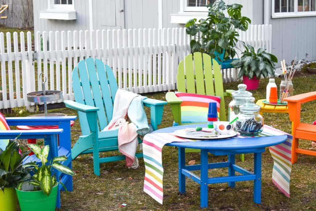 colorful rainbow all weather patio furniture - Colorful Patio Furniture And S'mores - At Charlotte's House