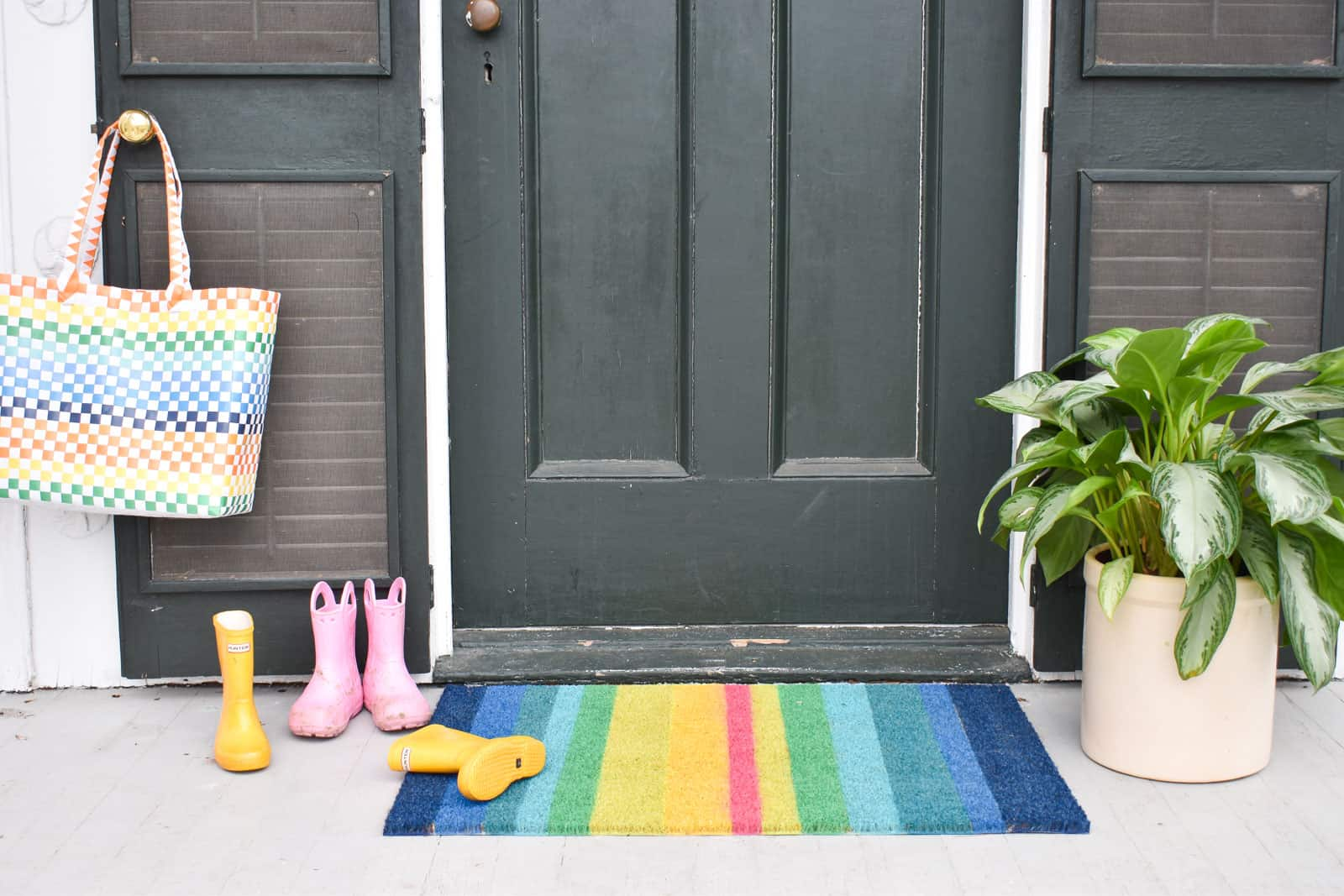 rainbow doormat outside our house