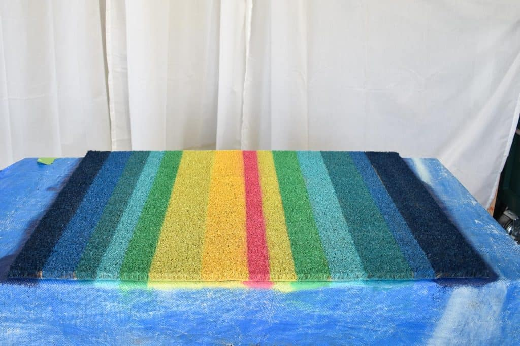 finished striped doormat