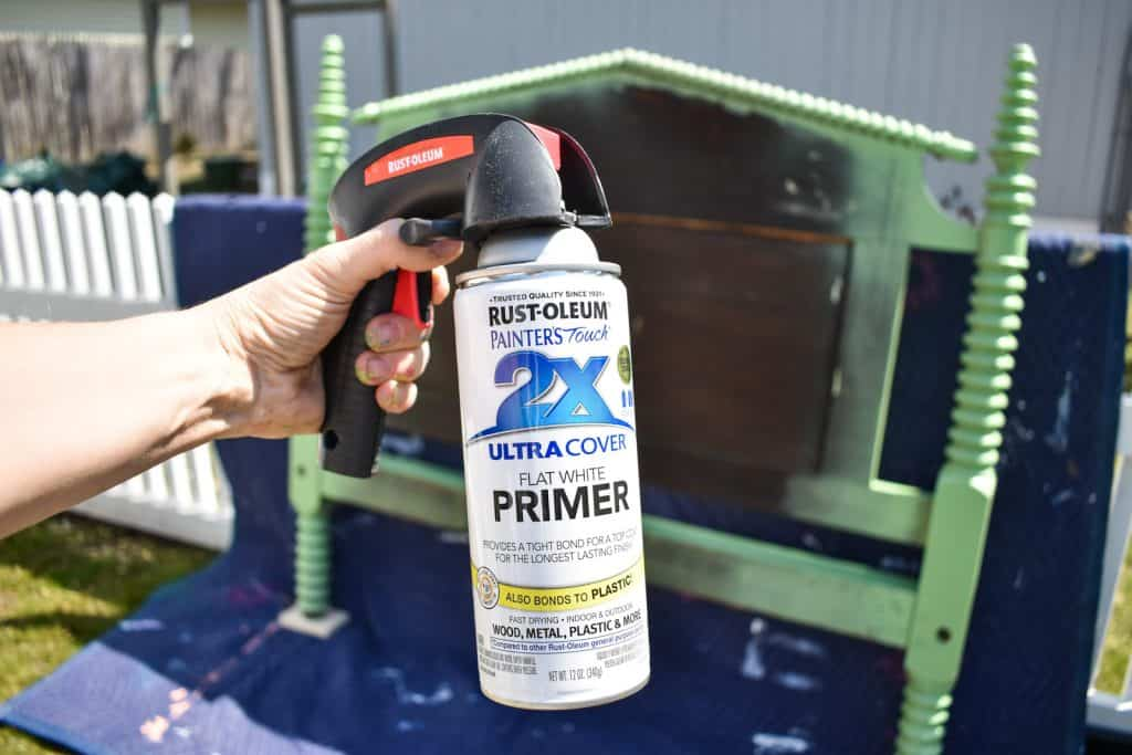 prime the headboard with rust-oleum 2x