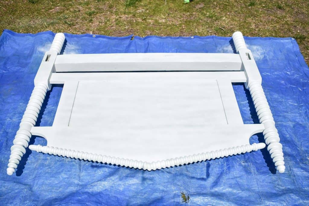 spray painting a headboard