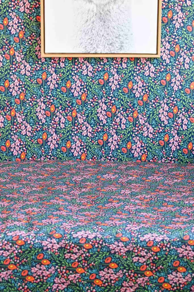 fabric and wallpaper detail in guest room