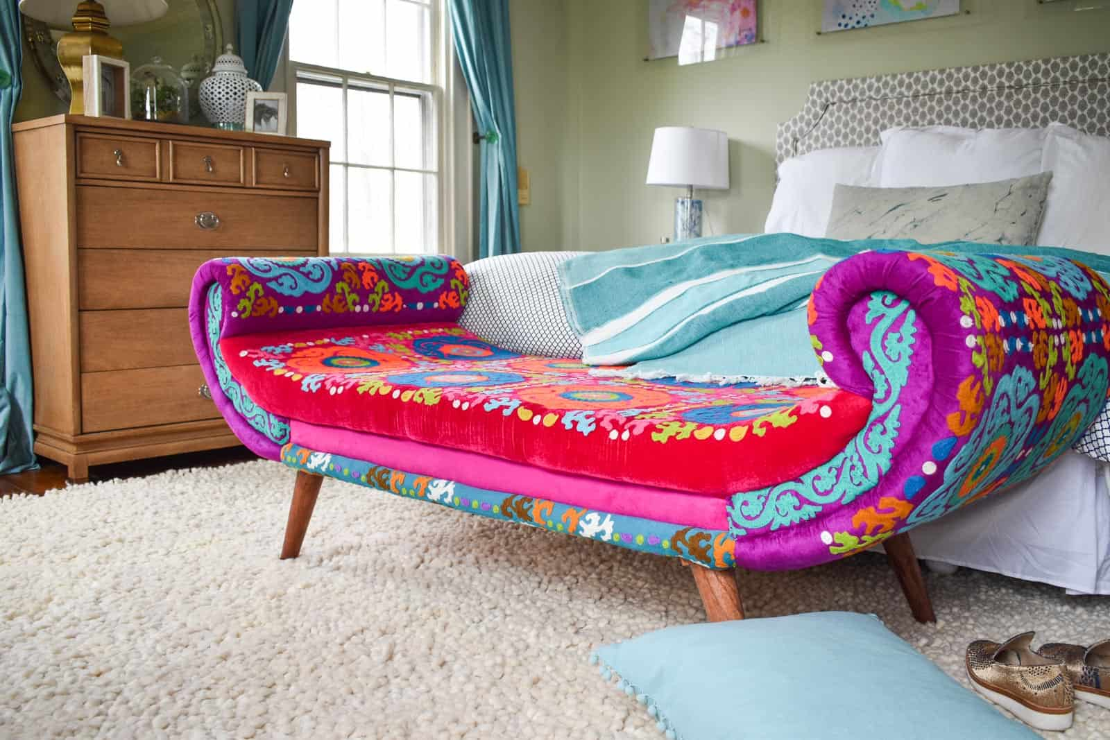 new colorful bench in master bedroom