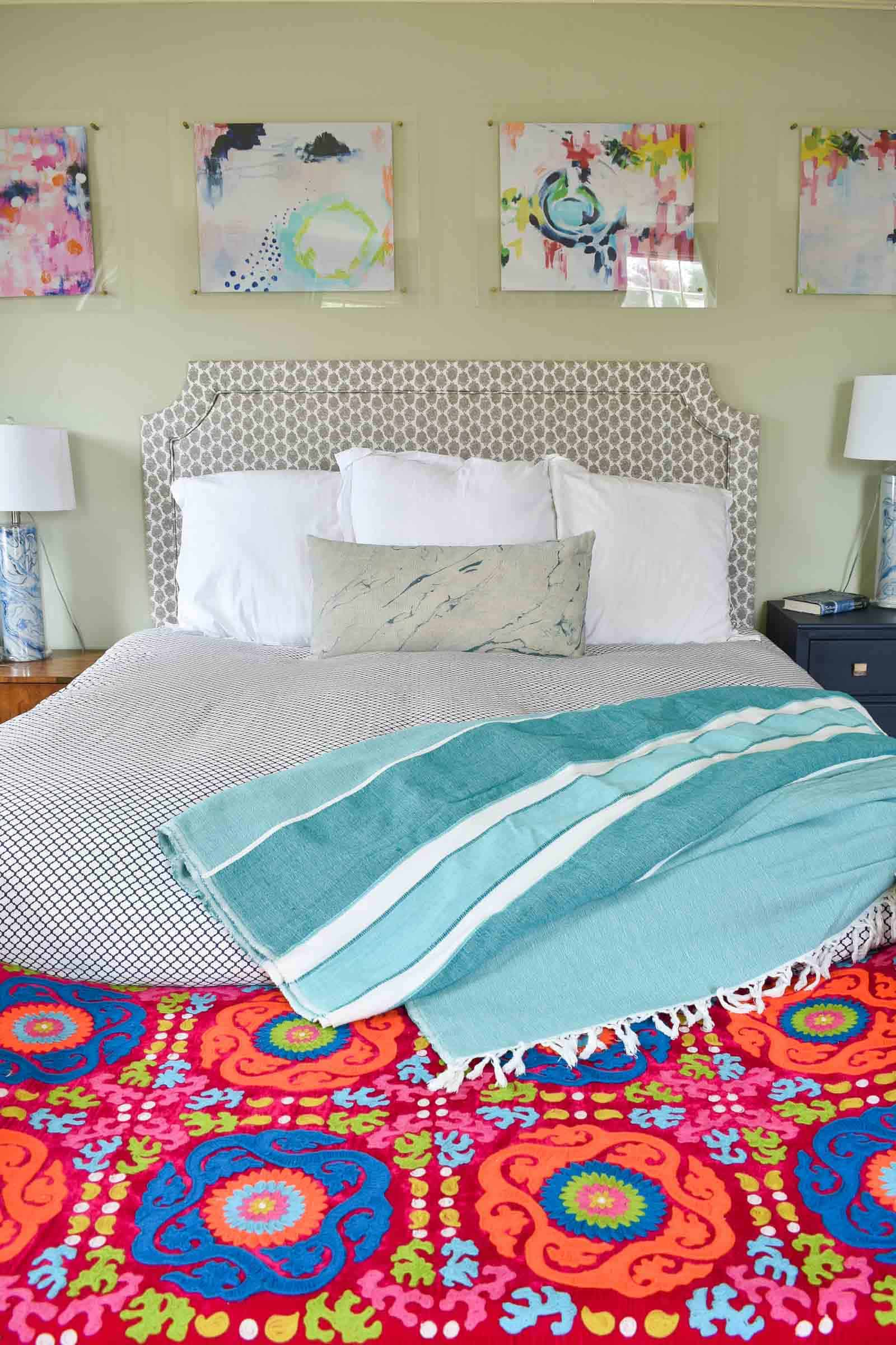 bedroom refresh with bright bench