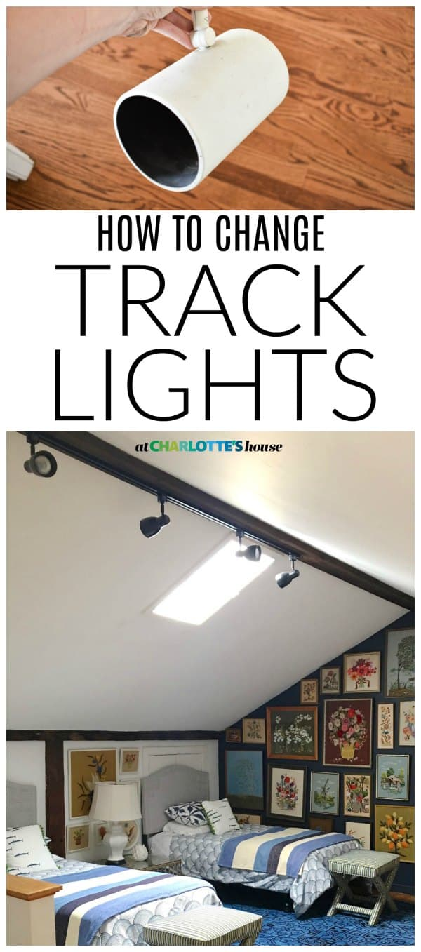 Update old dated track lights in an hour. This update made such a difference in our guest room and cost $40.