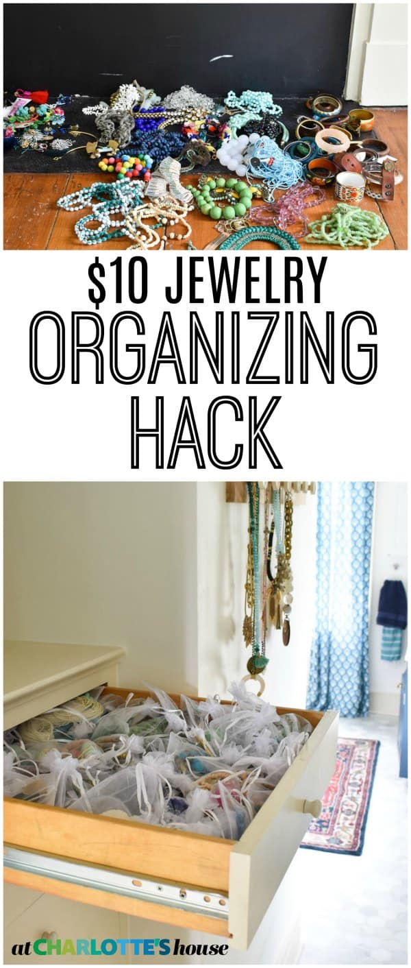 My budget solution for storing my tangled drawer of beads and earrings.