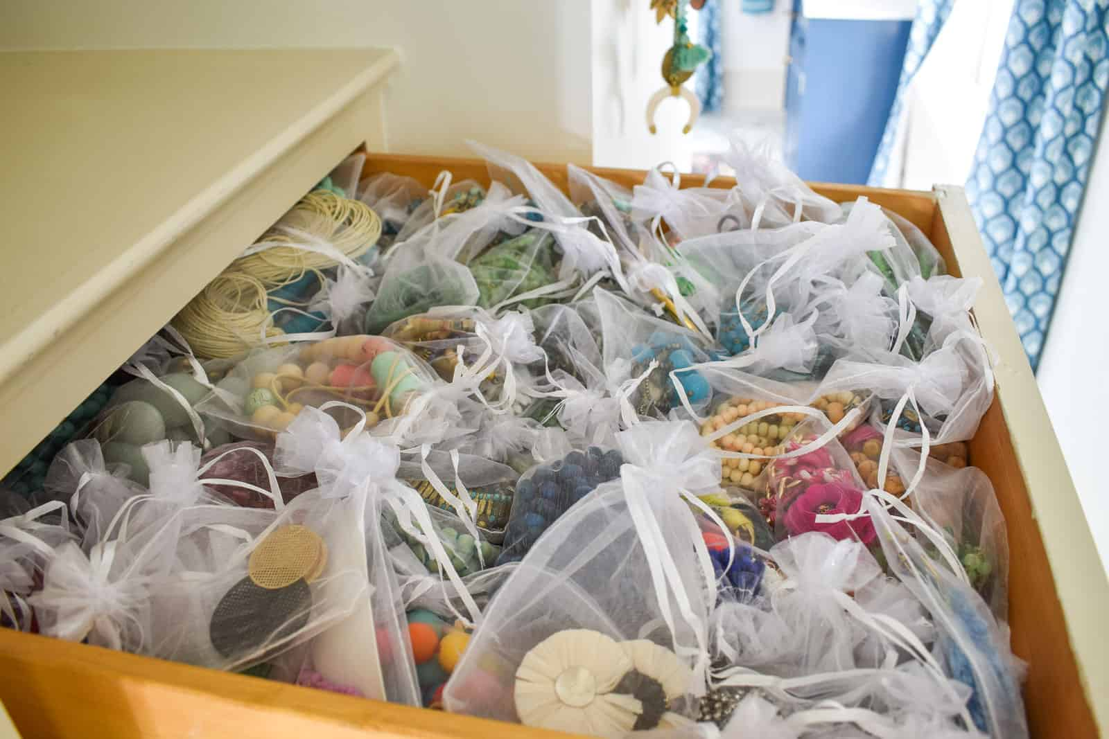close up of bags organized in drawer