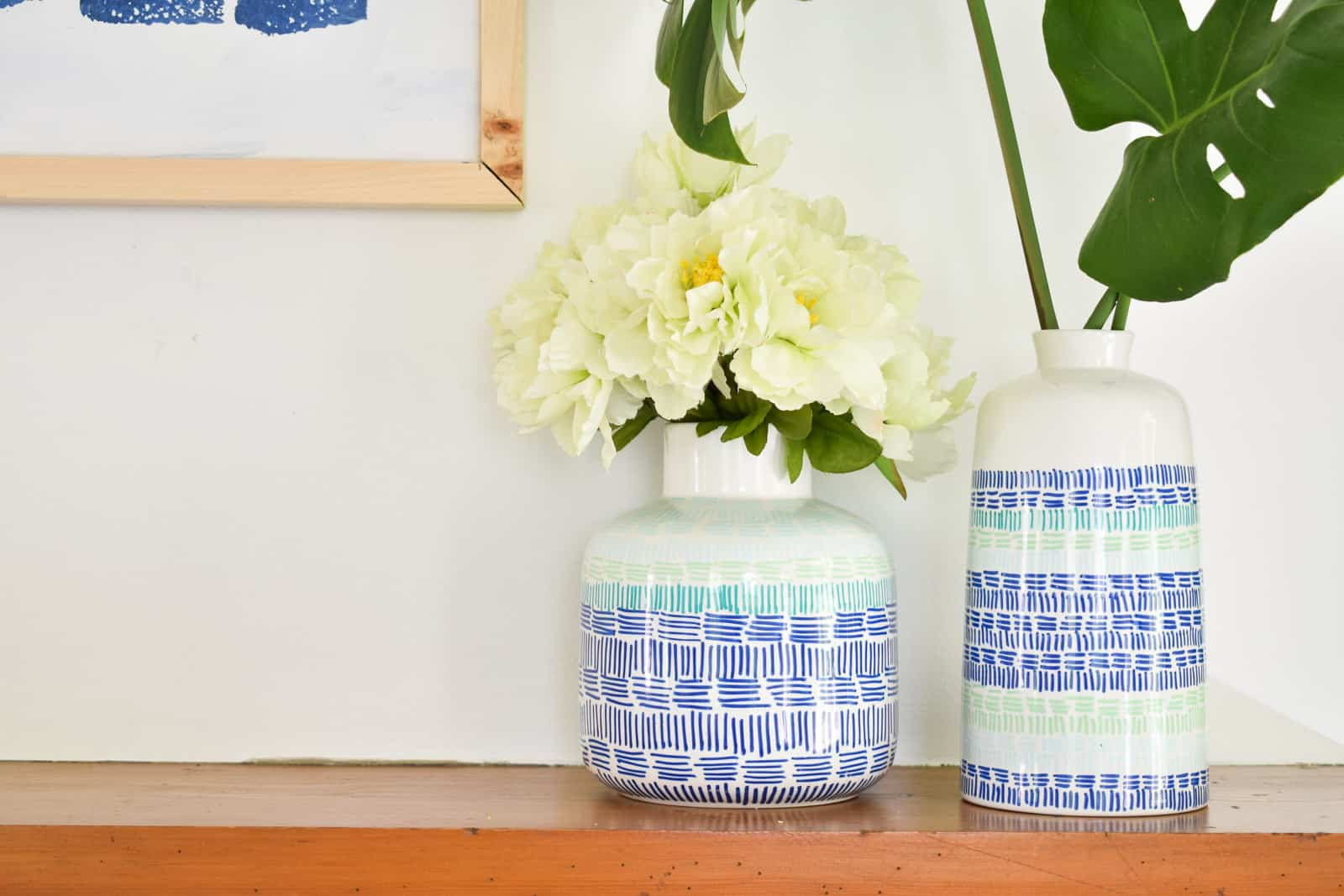hand drawn graphic ceramic vases