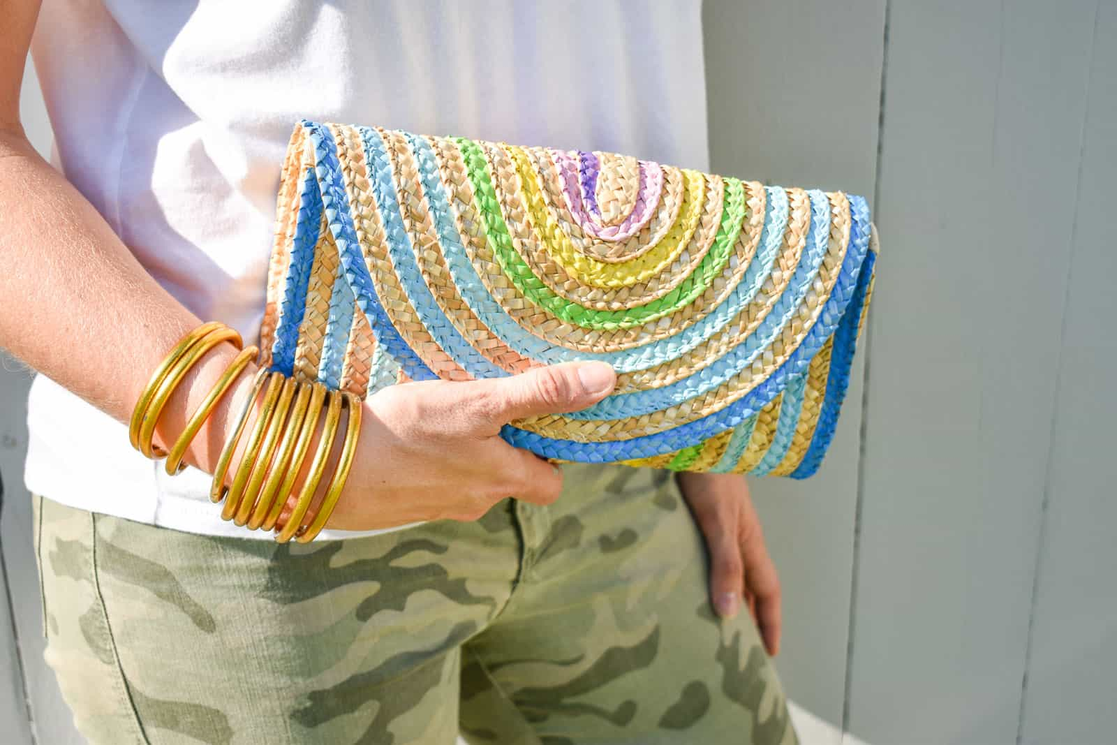 painted rainbow straw clutch