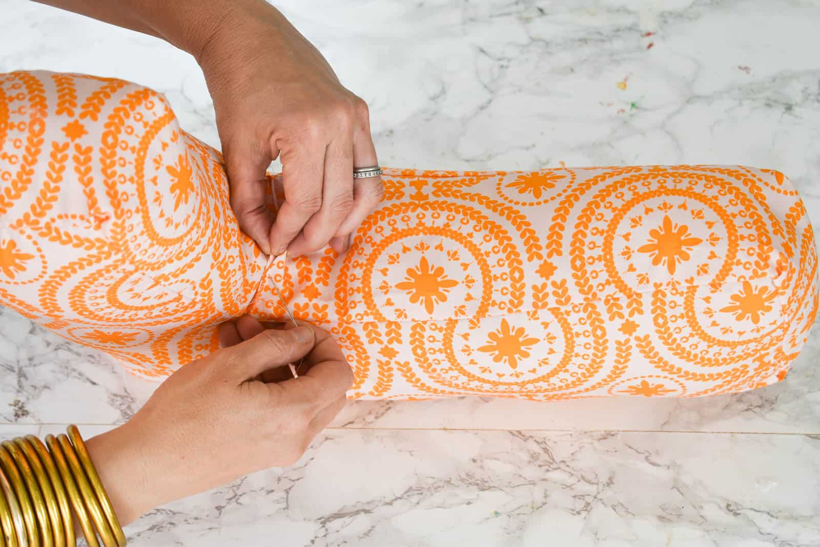 sew the inside seam of the letter pillow