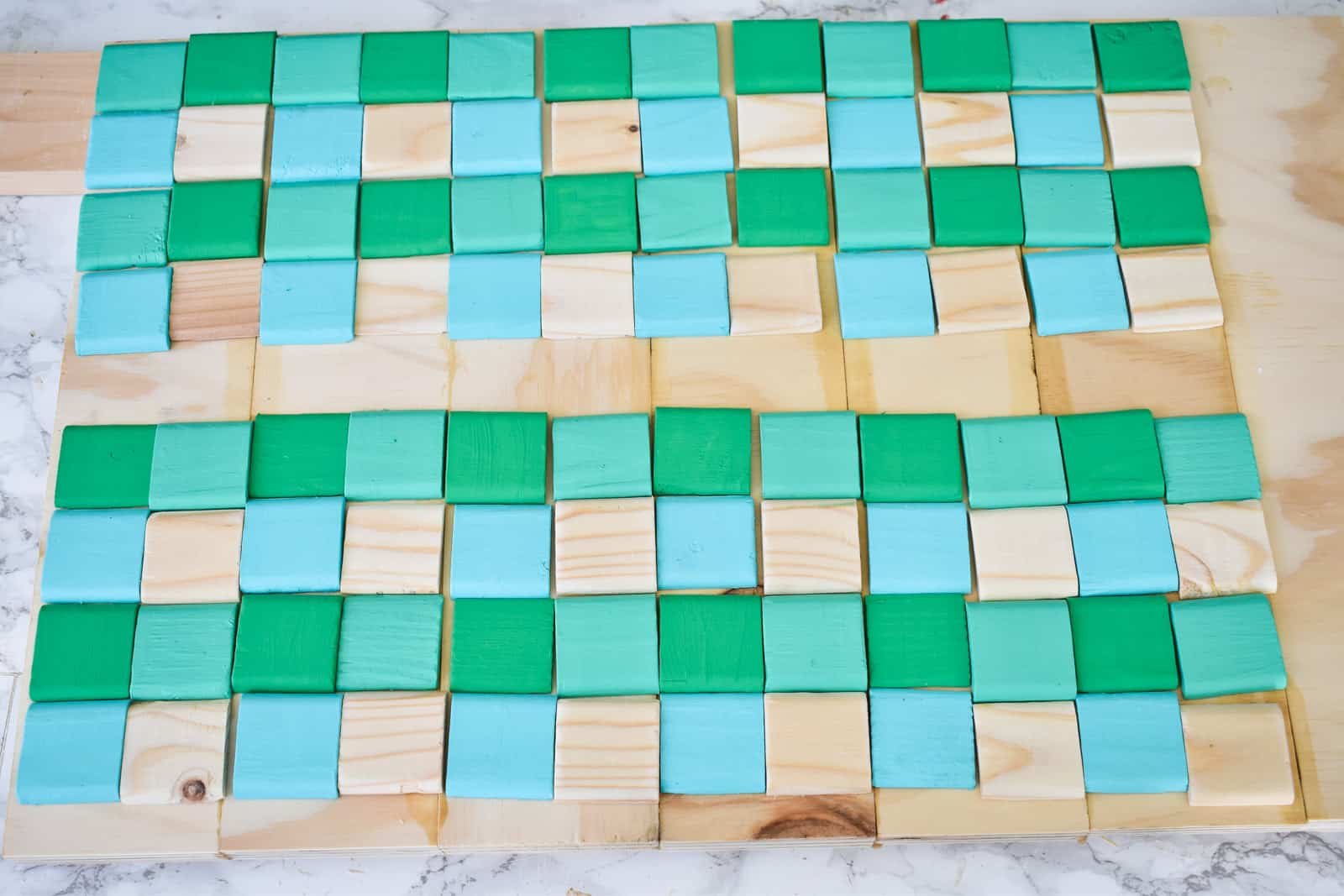 dry fit the buffalo check pattern of scrap wood squares