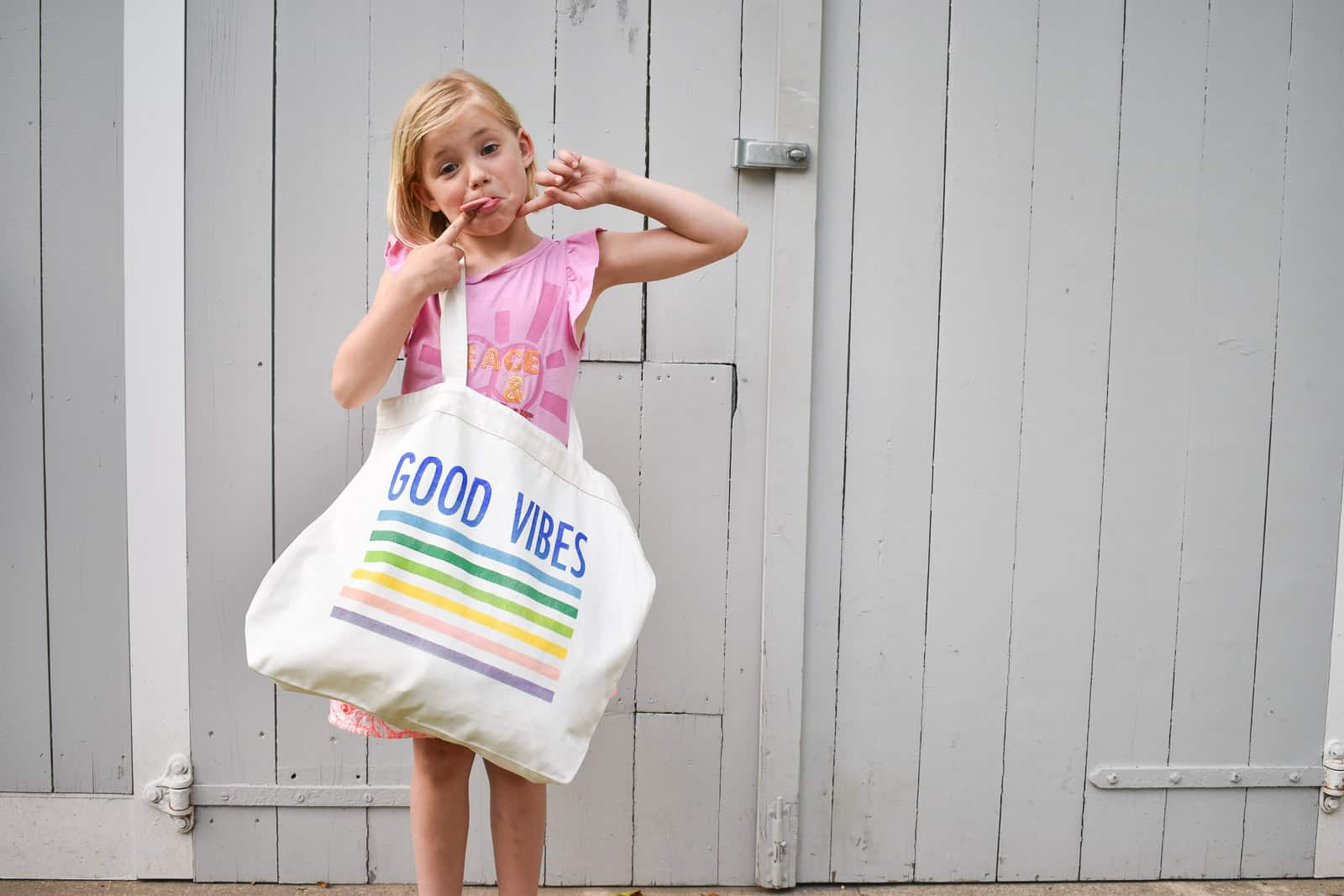 rainbow stenciled tote bag
