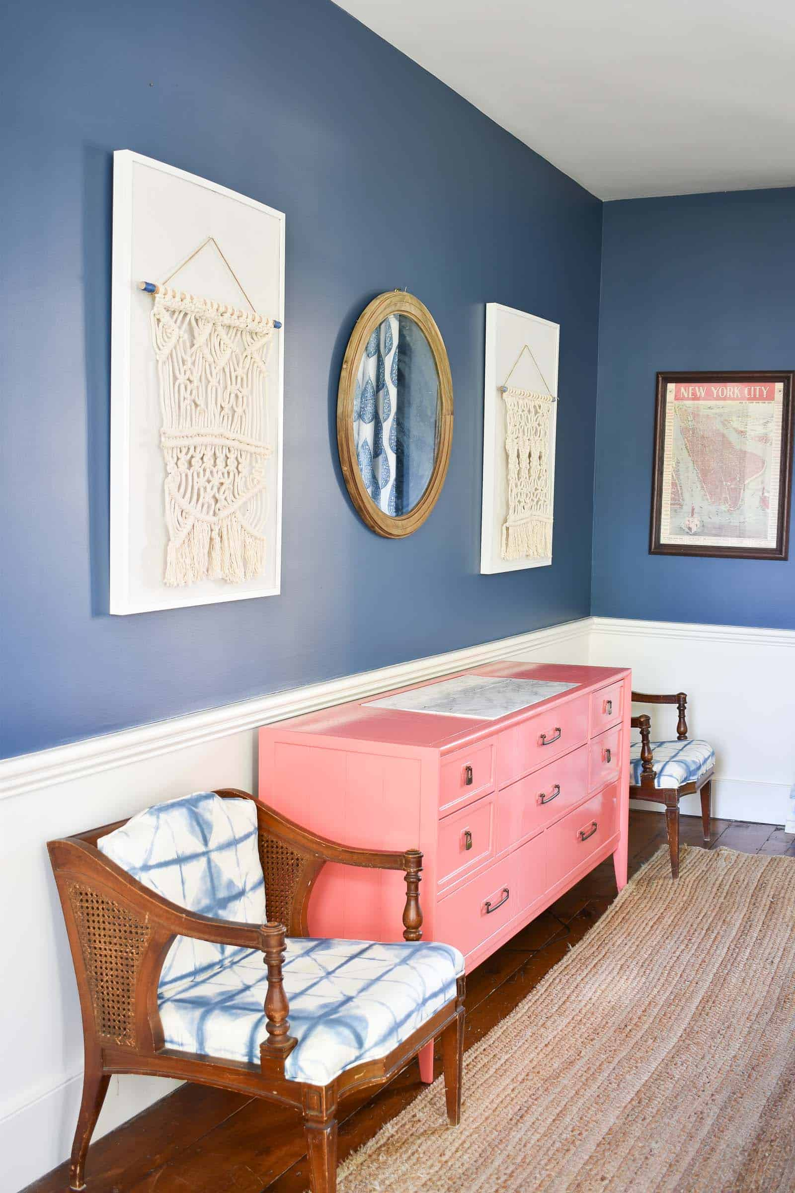 coral sideboard in dining room