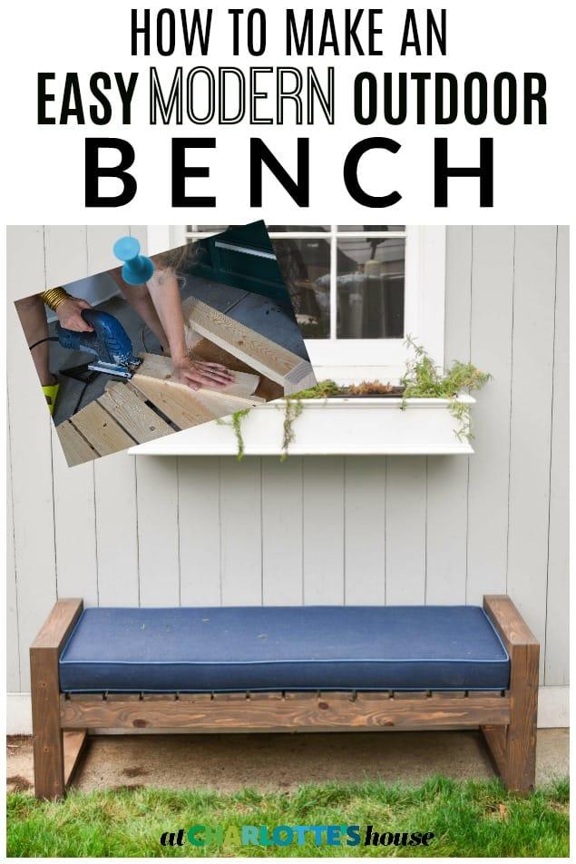 easy modern DIY backyard bench tutorial