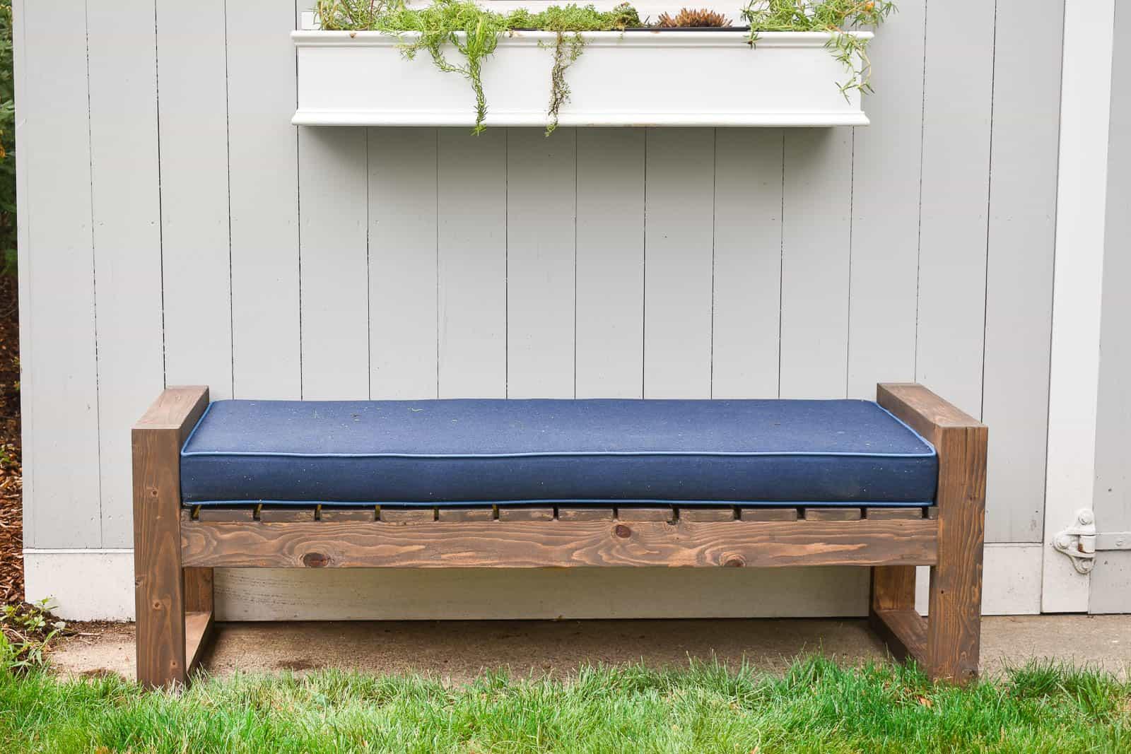modern bench for backyard seating