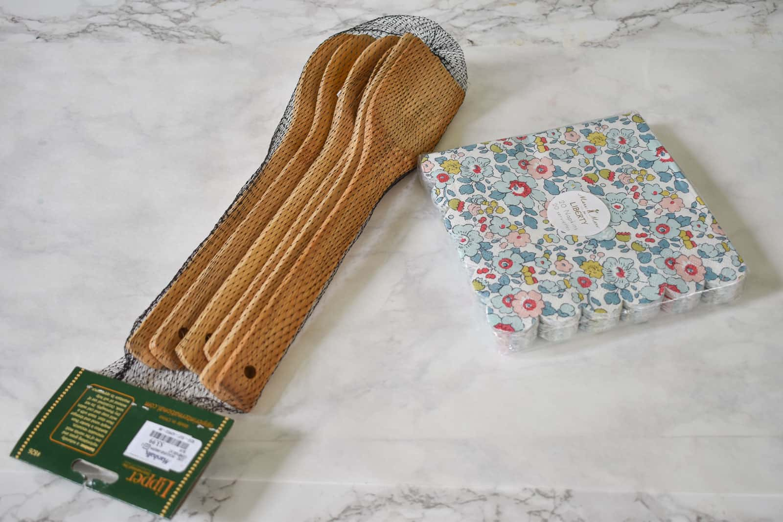 liberty print napkins and cooking utensils