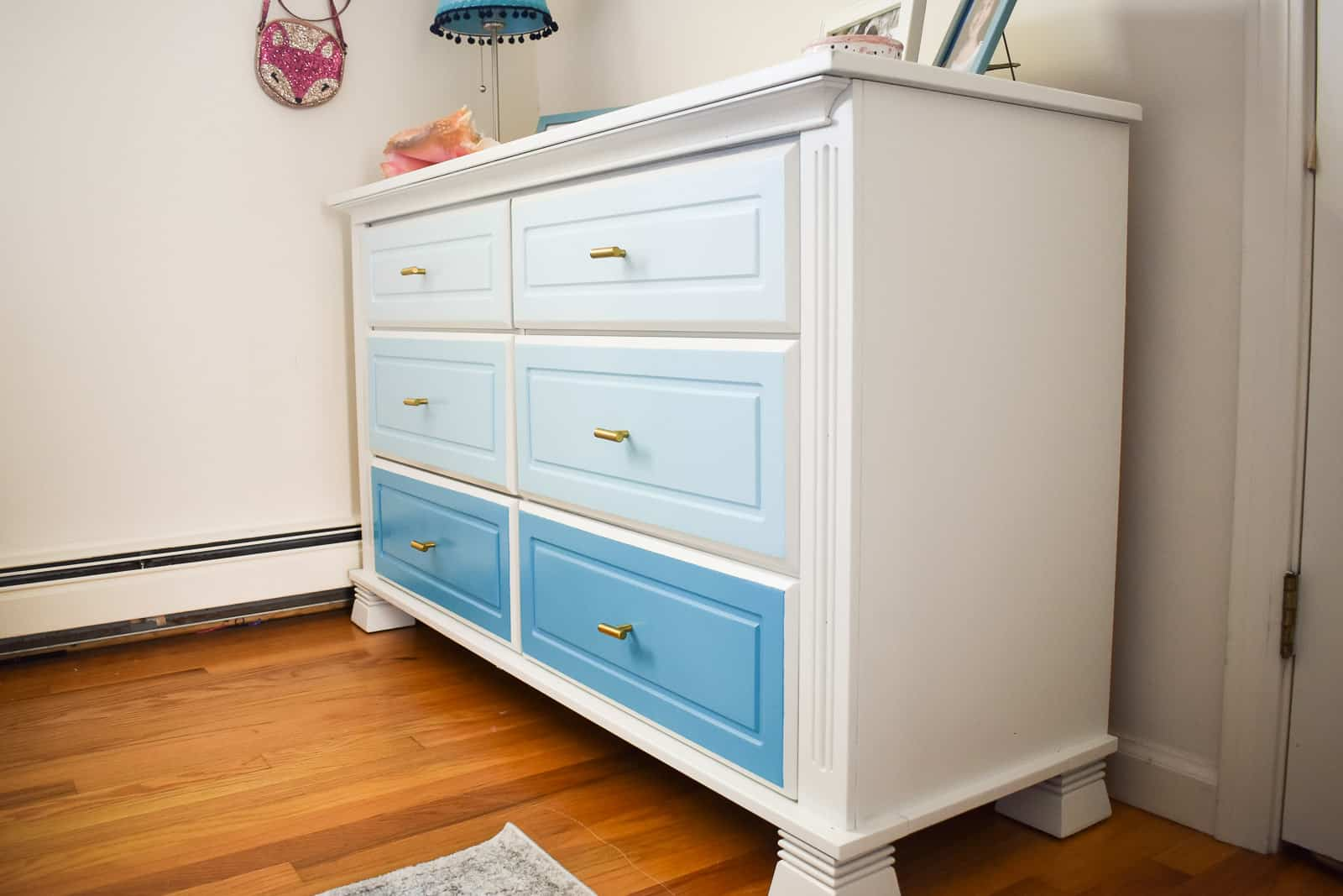 light blue ombre dresser makeover